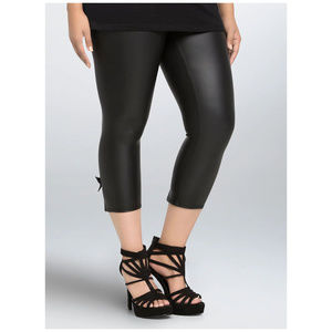 Torrid Black Faux Leather Skinny Pants with Bows